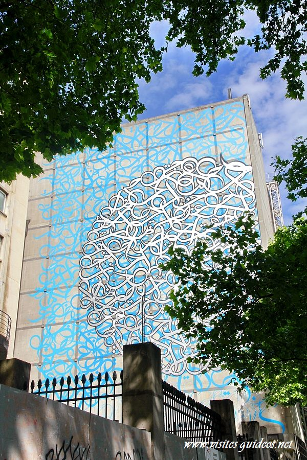 Fresque d'El Seed Institut du Monde Arabe
