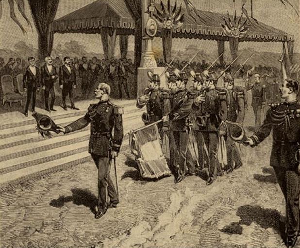 La distribution des drapeaux, 14 juillet 1880 le défilé. Gravure extraite de H. Barthélémy La Guerre Paris Jules Rouff vers 1880 © SHD