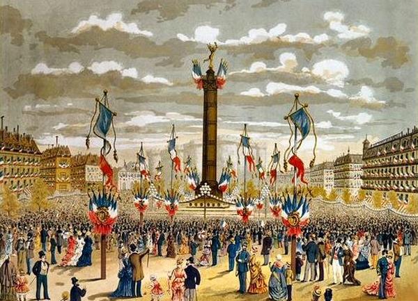 La fête du 14 juillet 1880 place de la Bastille à Paris.