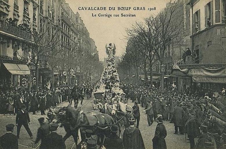 Carnaval de paris Promenade du Boeuf Gras rue secrétan