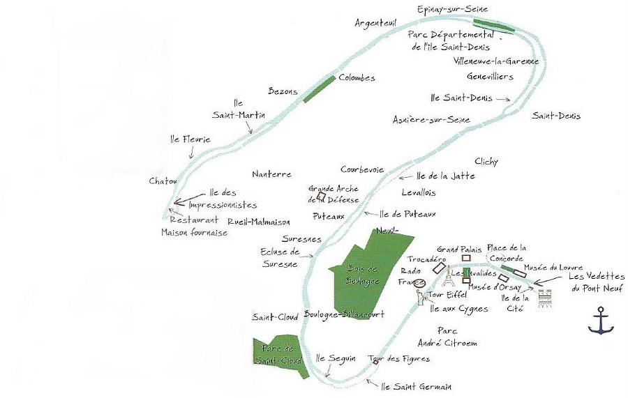 Parcours croisière sur la Seine
